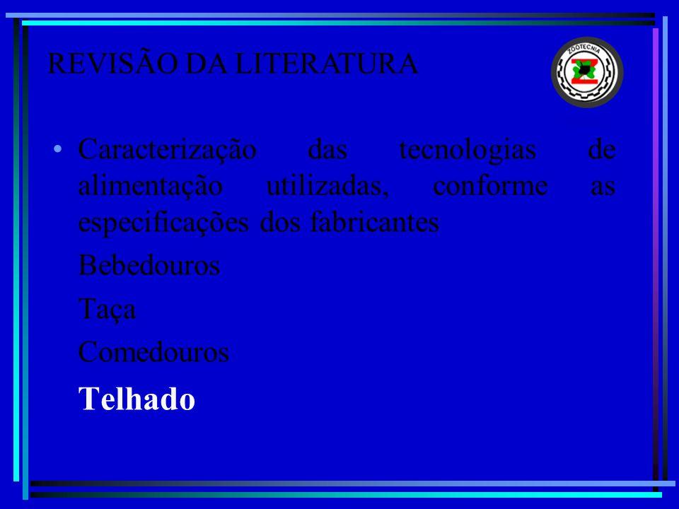 Caracterização das tecnologias de alimentação utilizadas, conforme as especificações dos fabricantes Bebedouros Taça Comedouros Telhado REVISÃO DA LIT