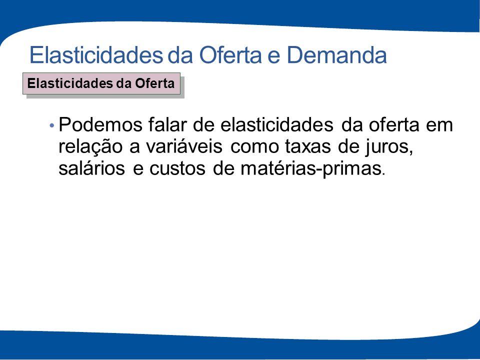 Elasticidades da Oferta e Demanda Podemos falar de elasticidades da oferta em relação a variáveis como taxas de juros, salários e custos de matérias-p