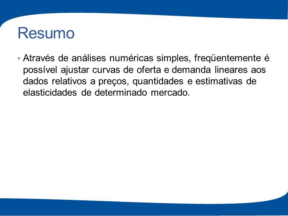 Resumo Através de análises numéricas simples, freqüentemente é possível ajustar curvas de oferta e demanda lineares aos dados relativos a preços, quan