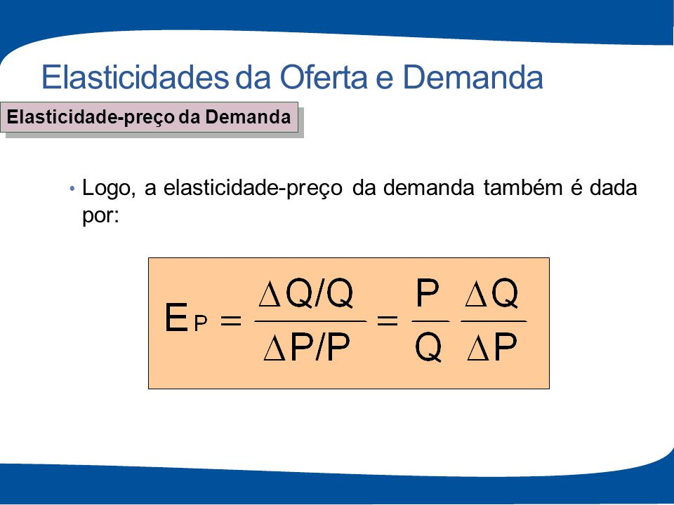 Elasticidades da Oferta e Demanda Logo, a elasticidade-preço da demanda também é dada por: Elasticidade-preço da Demanda