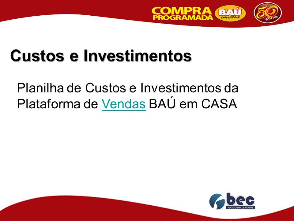 Custos e Investimentos Planilha de Custos e Investimentos da Plataforma de Vendas BAÚ em CASAVendas