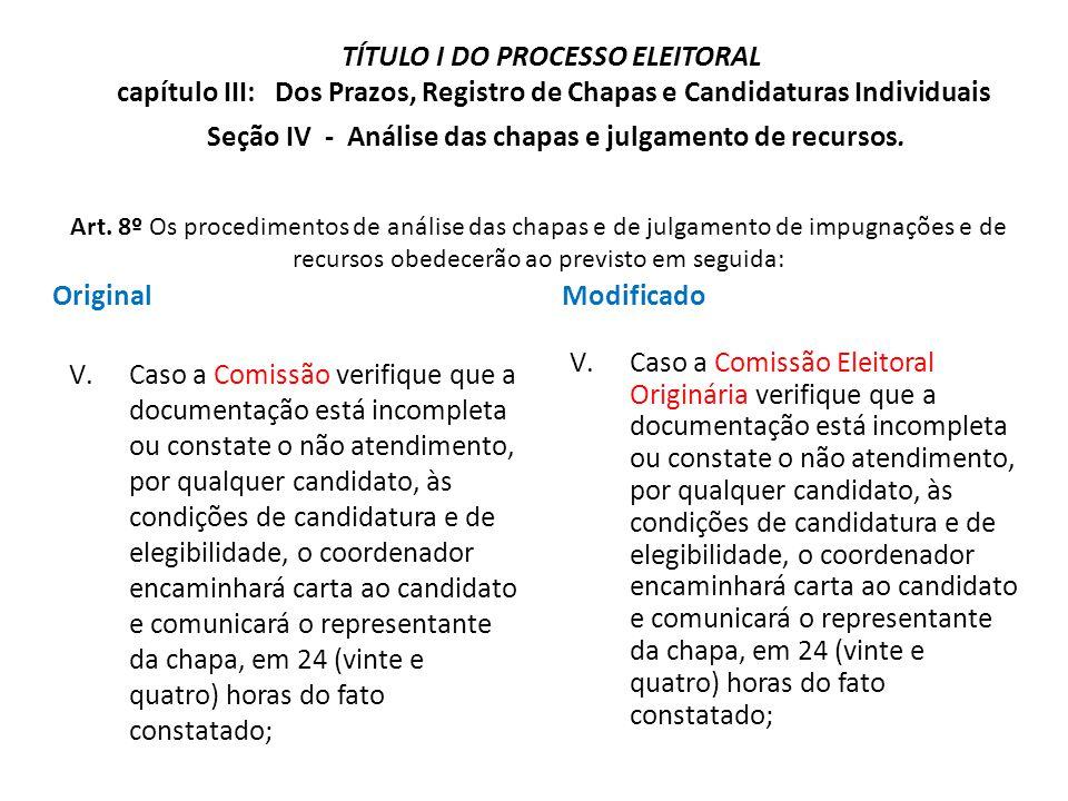 Original V.Caso a Comissão verifique que a documentação está incompleta ou constate o não atendimento, por qualquer candidato, às condições de candida