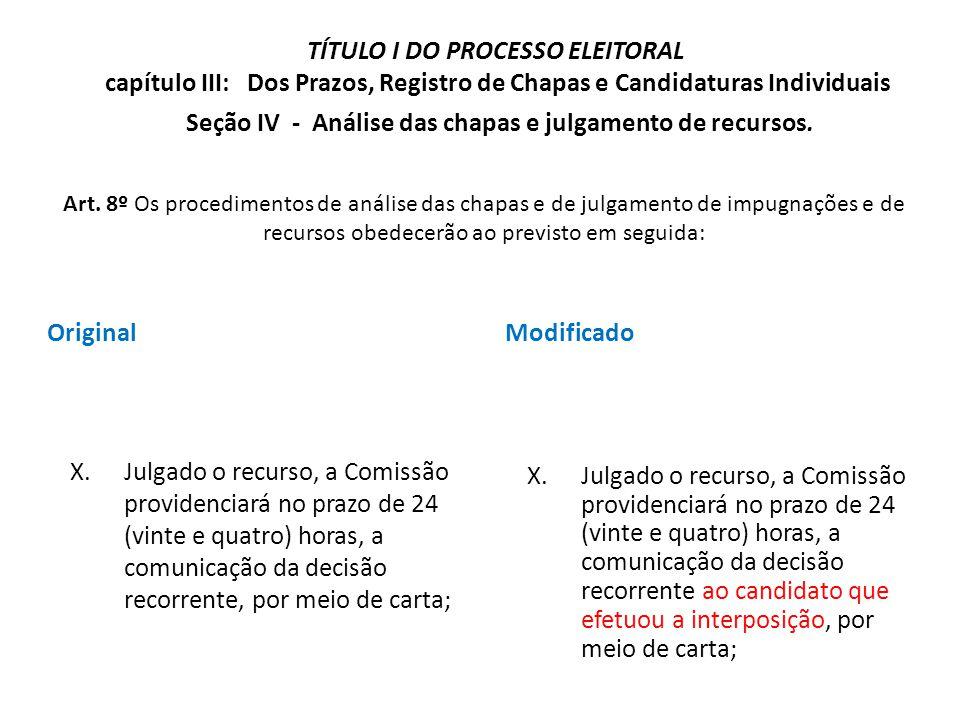 Original X.Julgado o recurso, a Comissão providenciará no prazo de 24 (vinte e quatro) horas, a comunicação da decisão recorrente, por meio de carta;