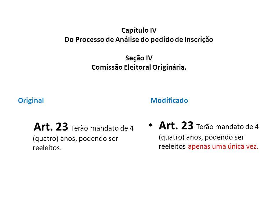 Capítulo IV Do Processo de Análise do pedido de Inscrição Seção IV Comissão Eleitoral Originária. Original Art. 23 Terão mandato de 4 (quatro) anos, p