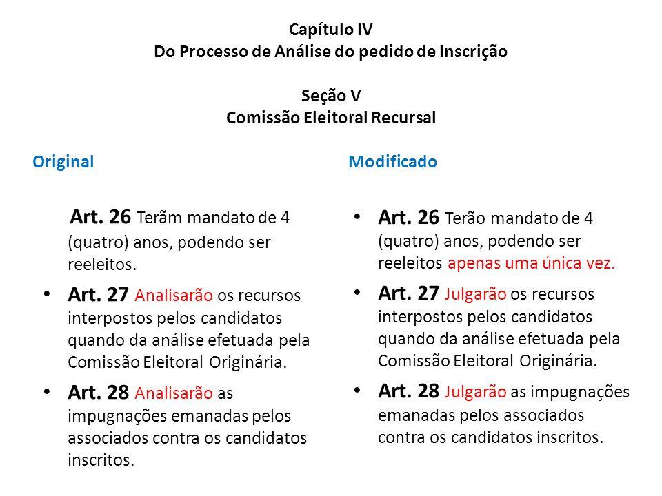 Capítulo IV Do Processo de Análise do pedido de Inscrição Seção V Comissão Eleitoral Recursal Original Art. 26 Terãm mandato de 4 (quatro) anos, poden