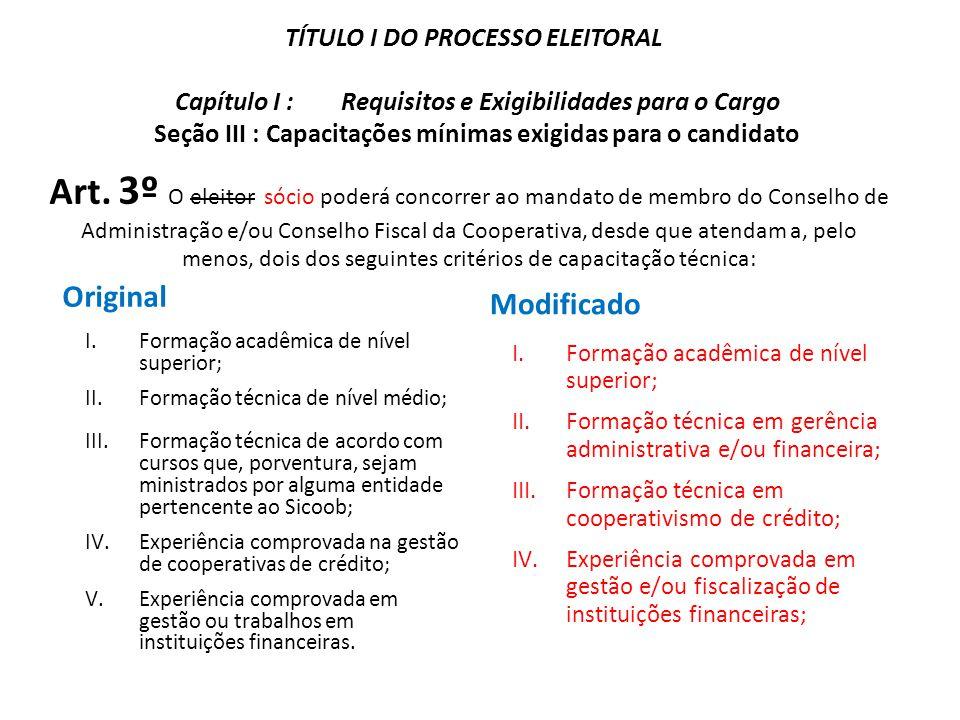 Art. 3º O eleitor sócio poderá concorrer ao mandato de membro do Conselho de Administração e/ou Conselho Fiscal da Cooperativa, desde que atendam a, p