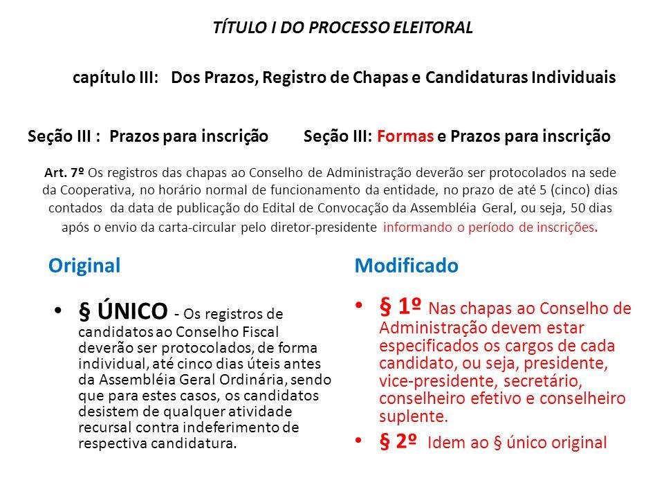 Art. 7º Os registros das chapas ao Conselho de Administração deverão ser protocolados na sede da Cooperativa, no horário normal de funcionamento da en