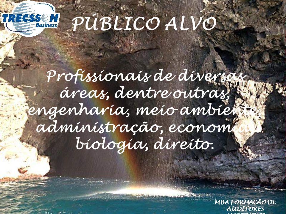 PÚBLICO ALVO Profissionais de diversas áreas, dentre outras, engenharia, meio ambiente, administração, economia, biologia, direito. MBA FORMAÇÃO DE AU