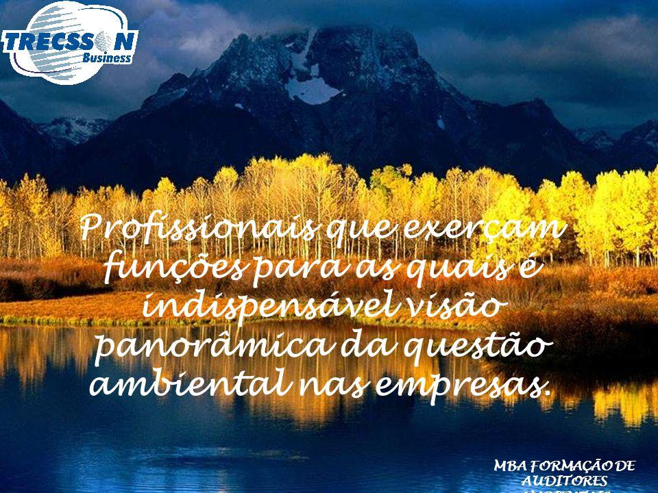 Profissionais que exerçam funções para as quais é indispensável visão panorâmica da questão ambiental nas empresas. MBA FORMAÇÃO DE AUDITORES AMBIENTA