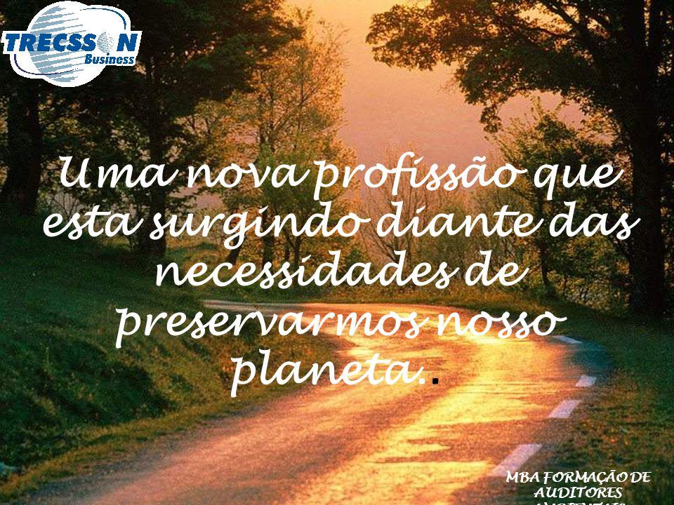 Uma nova profissão que esta surgindo diante das necessidades de preservarmos nosso planeta.. MBA FORMAÇÃO DE AUDITORES AMBIENTAIS