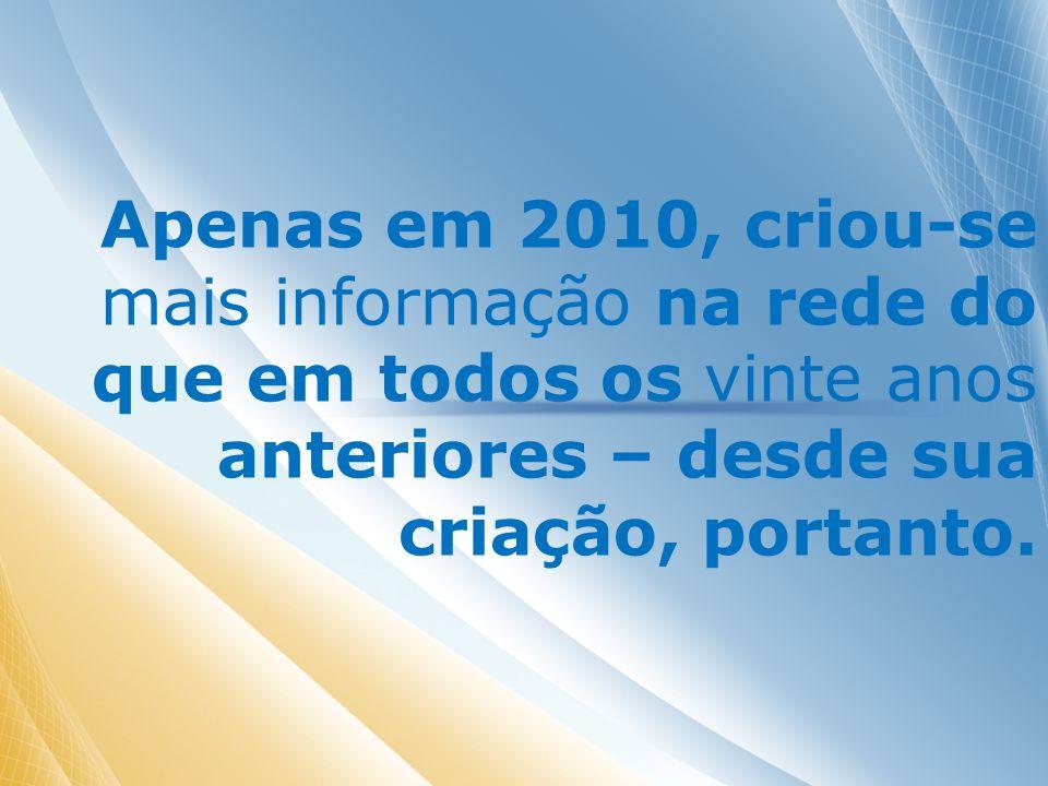 Apenas em 2010, criou-se mais informação na rede do que em todos os vinte anos anteriores – desde sua criação, portanto.