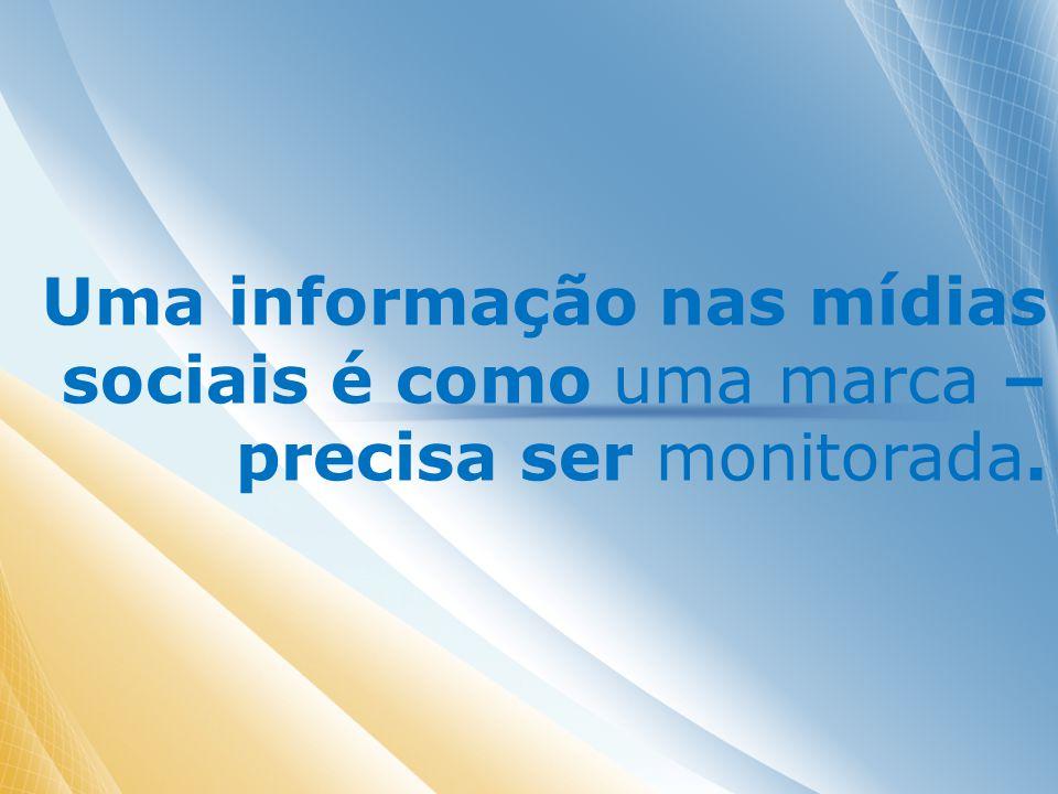 Uma informação nas mídias sociais é como uma marca – precisa ser monitorada.