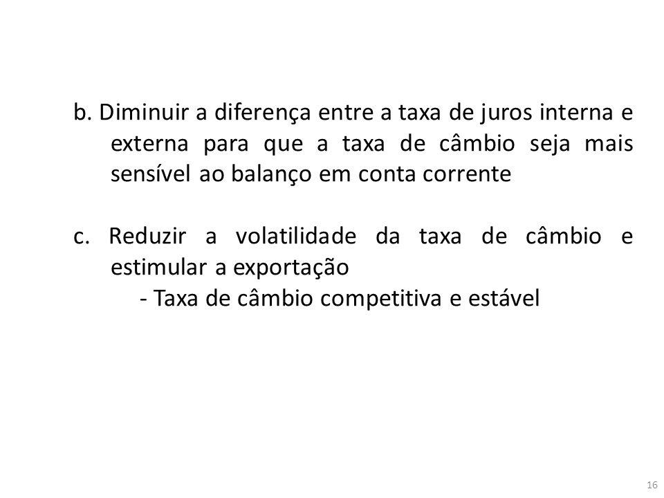 b. Diminuir a diferença entre a taxa de juros interna e externa para que a taxa de câmbio seja mais sensível ao balanço em conta corrente c. Reduzir a