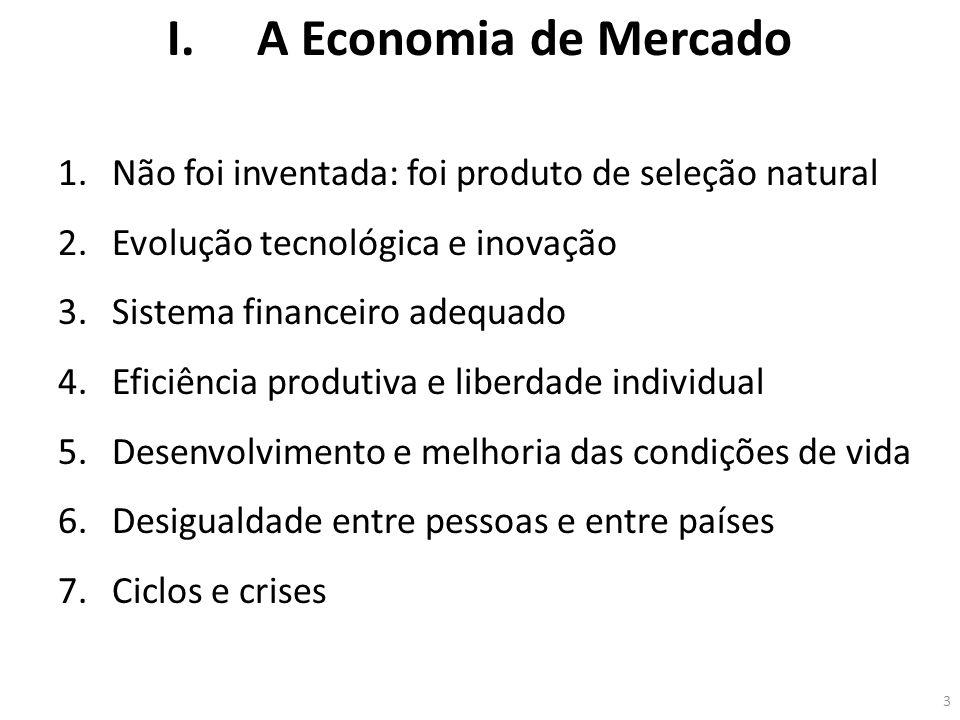 I.A Economia de Mercado 1.Não foi inventada: foi produto de seleção natural 2.Evolução tecnológica e inovação 3.Sistema financeiro adequado 4.Eficiênc