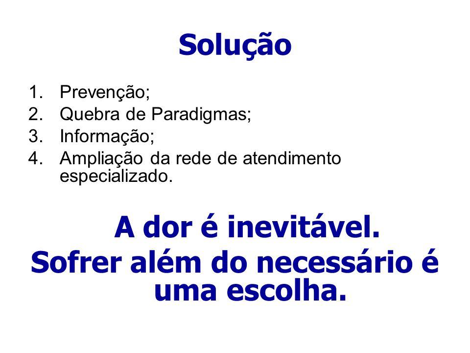 Solução 1.Prevenção; 2.Quebra de Paradigmas; 3.Informação; 4.Ampliação da rede de atendimento especializado. A dor é inevitável. Sofrer além do necess