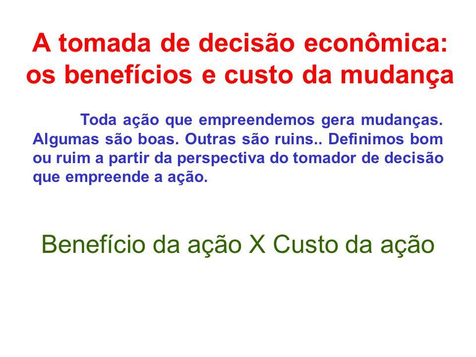 A tomada de decisão econômica: os benefícios e custo da mudança Toda ação que empreendemos gera mudanças.
