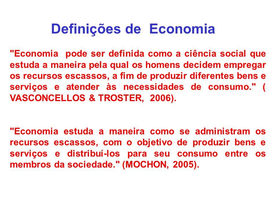Definições de Economia Economia pode ser definida como a ciência social que estuda a maneira pela qual os homens decidem empregar os recursos escassos, a fim de produzir diferentes bens e serviços e atender às necessidades de consumo. ( VASCONCELLOS & TROSTER, 2006).