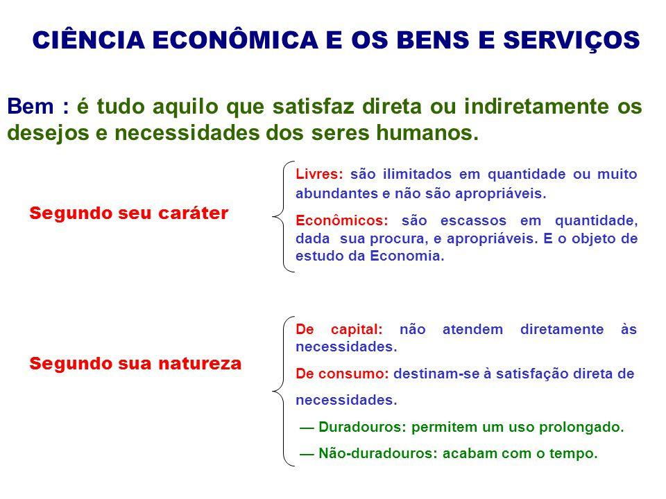 CIÊNCIA ECONÔMICA E OS BENS E SERVIÇOS Segundo sua função Intermediários: devem sofrer novas transformações antes de se converterem em bens de consumo ou de capital.