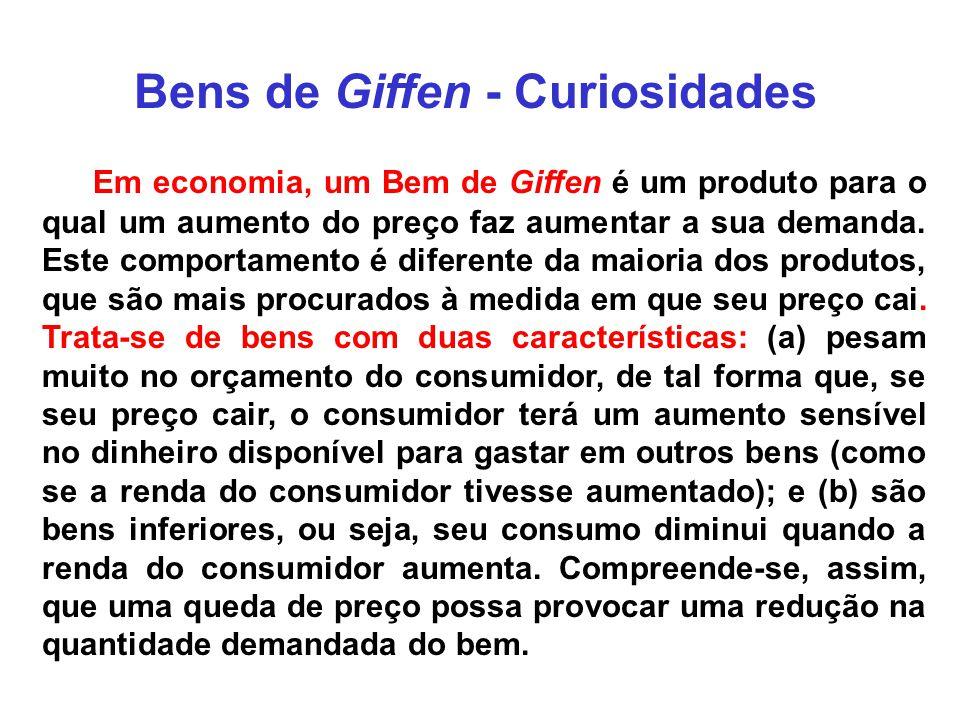 Bens de Giffen - Curiosidades Em economia, um Bem de Giffen é um produto para o qual um aumento do preço faz aumentar a sua demanda. Este comportament