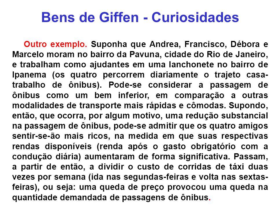 Bens de Giffen - Curiosidades Outro exemplo. Suponha que Andrea, Francisco, Débora e Marcelo moram no bairro da Pavuna, cidade do Rio de Janeiro, e tr