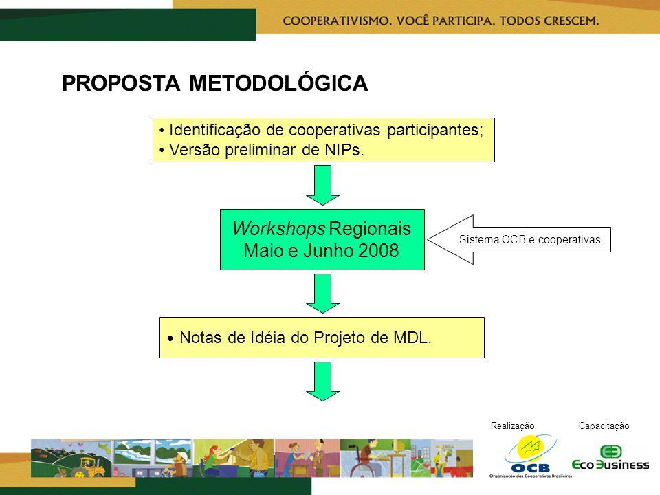 RealizaçãoCapacitação PROPOSTA METODOLÓGICA Notas de Idéia do Projeto de MDL.