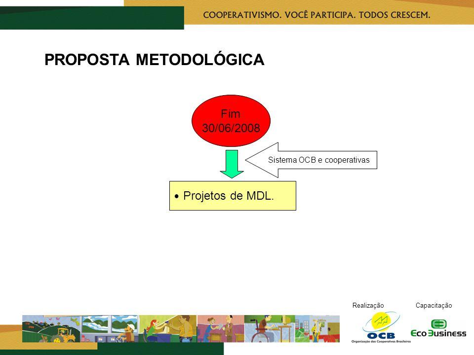 RealizaçãoCapacitação Fim 30/06/2008 PROPOSTA METODOLÓGICA Projetos de MDL.