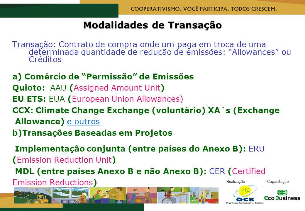 RealizaçãoCapacitação Modalidades de Transação Transação: Contrato de compra onde um paga em troca de uma determinada quantidade de redução de emissõe