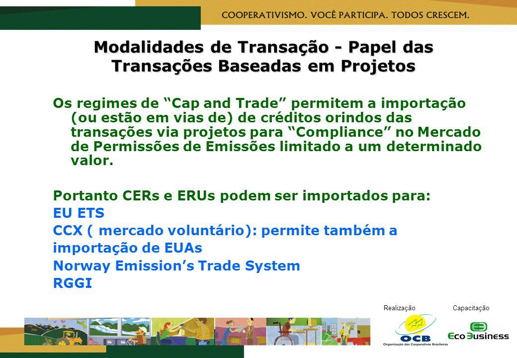 RealizaçãoCapacitação Modalidades de Transação - Papel das Transações Baseadas em Projetos Os regimes de Cap and Trade permitem a importação (ou estão