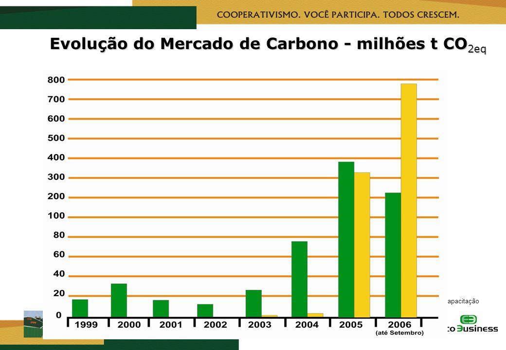 RealizaçãoCapacitação Evolução do Mercado de Carbono - milhões t CO 2eq Via projetos Via comércio de permissão de emissões Final de 2006 Final 2006 –