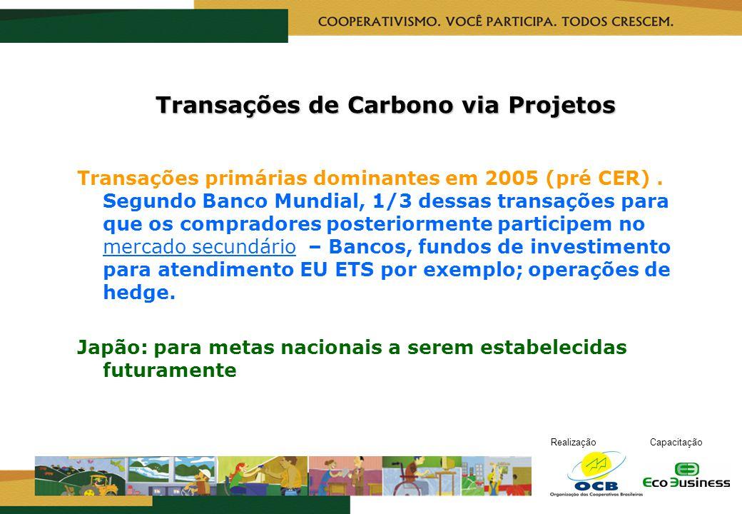 RealizaçãoCapacitação Transações de Carbono via Projetos Transações primárias dominantes em 2005 (pré CER). Segundo Banco Mundial, 1/3 dessas transaçõ