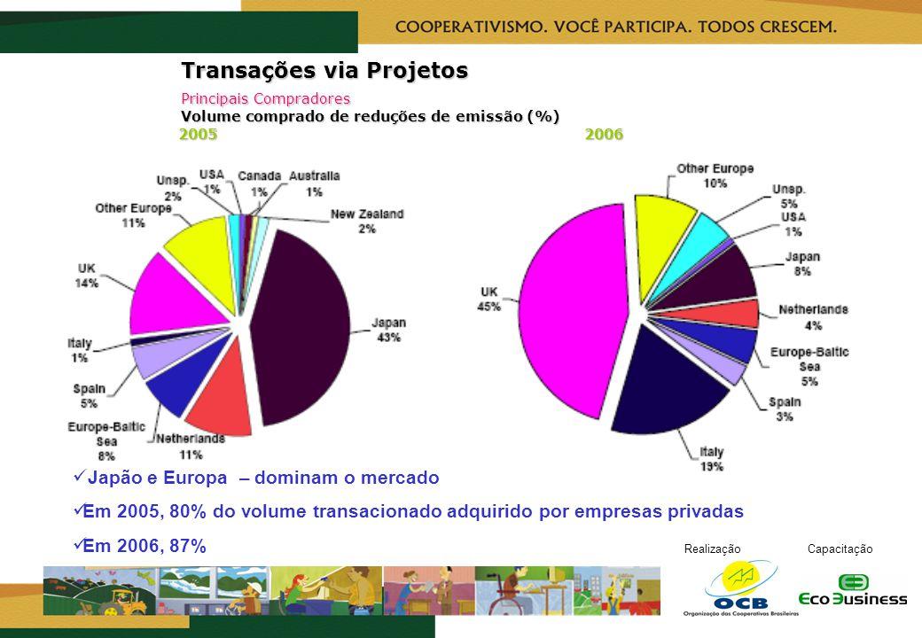 RealizaçãoCapacitação Transações via Projetos Principais Compradores Volume comprado de reduções de emissão (%) 2005 2006 Japão e Europa – dominam o m