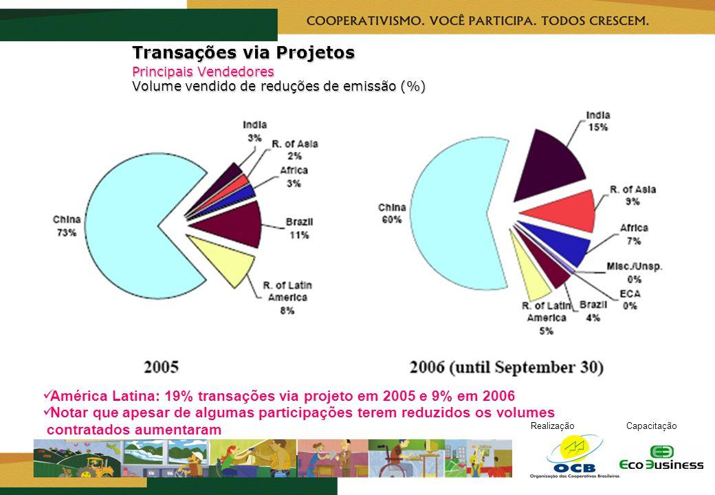 RealizaçãoCapacitação Transações via Projetos Principais Vendedores Volume vendido de reduções de emissão (%) América Latina: 19% transações via proje