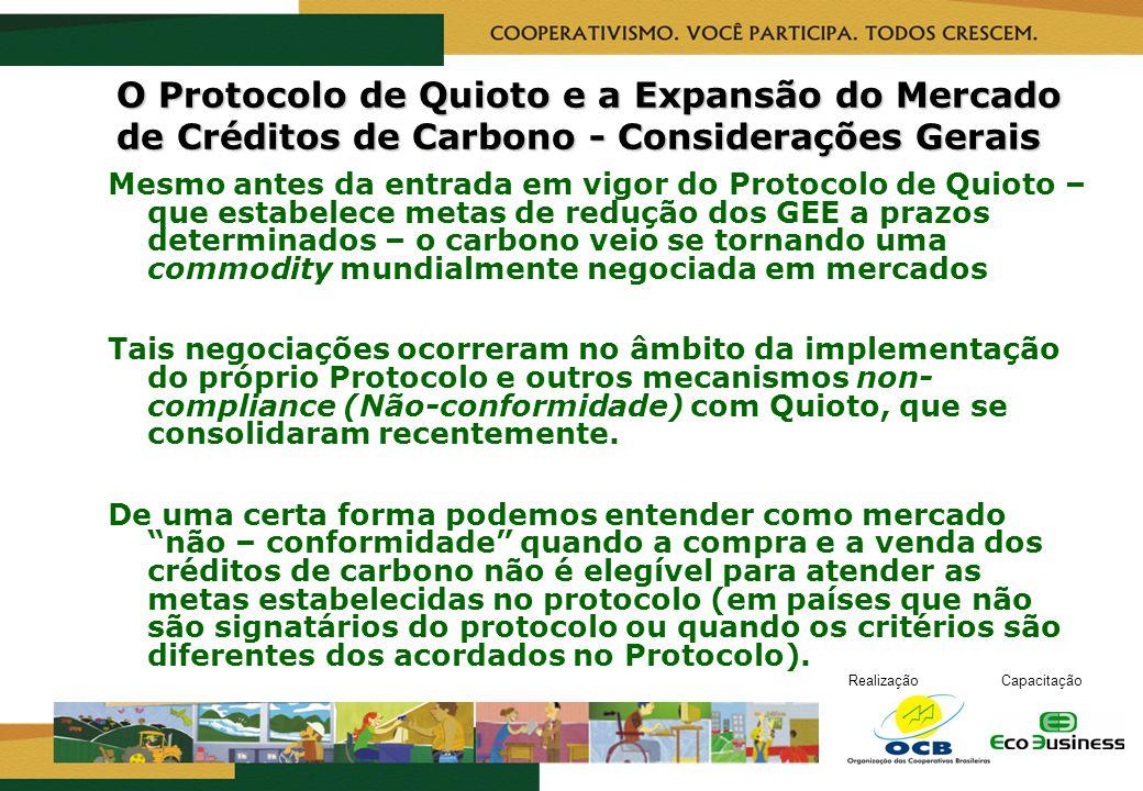 RealizaçãoCapacitação O Protocolo de Quioto e a Expansão do Mercado de Créditos de Carbono - Considerações Gerais Mesmo antes da entrada em vigor do P