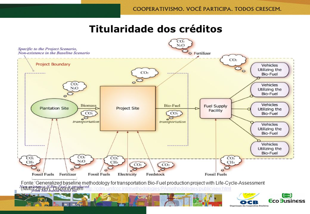 RealizaçãoCapacitação Titularidade dos créditos Fonte: Generalized baseline methodology for transportation Bio-Fuel production project with Life-Cycle