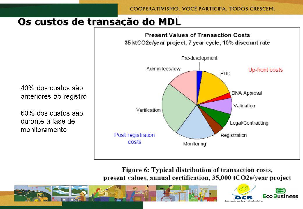 RealizaçãoCapacitação Os custos de transação do MDL 40% dos custos são anteriores ao registro 60% dos custos são durante a fase de monitoramento