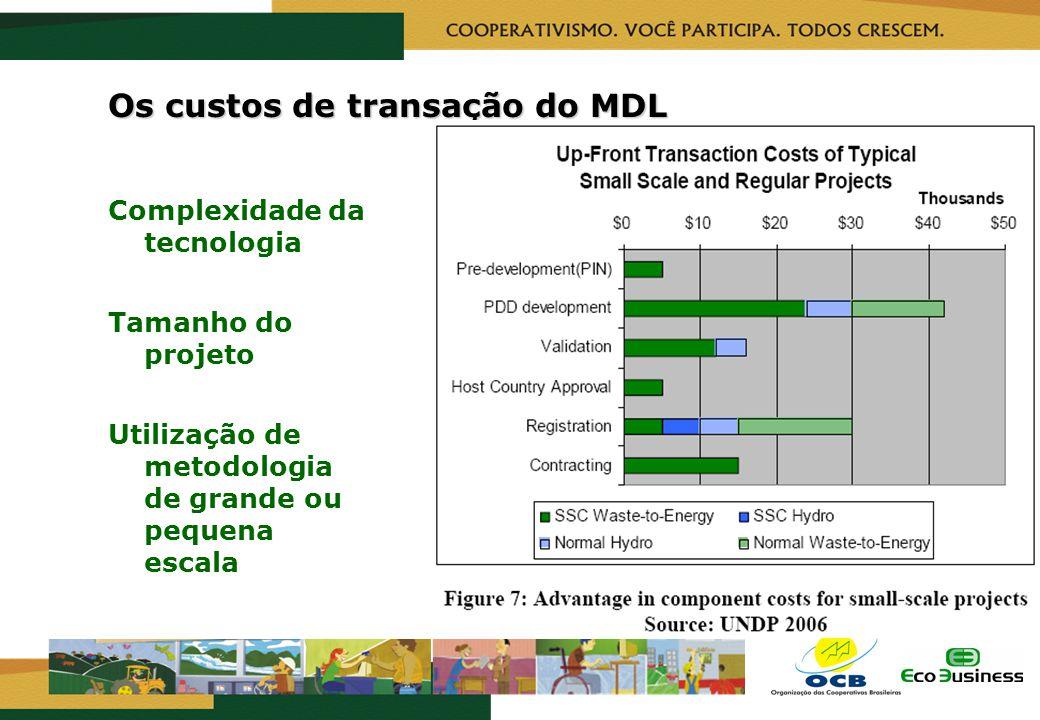 RealizaçãoCapacitação Os custos de transação do MDL Complexidade da tecnologia Tamanho do projeto Utilização de metodologia de grande ou pequena escal