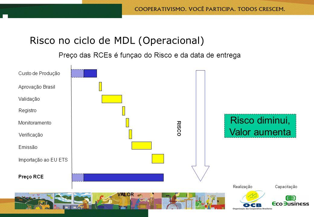 RealizaçãoCapacitação Registro Monitoramento Aprovação Brasil Verificação Preço RCE Validação Custo de Produção Emissão Importação ao EU ETS Risco dim