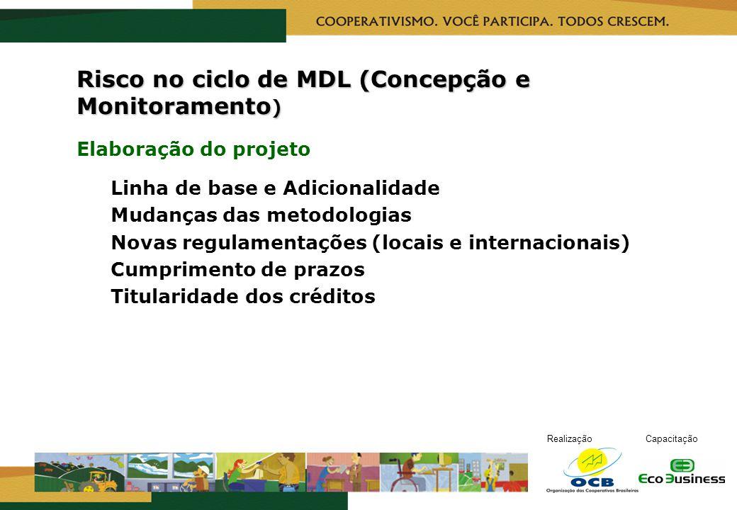 RealizaçãoCapacitação Risco no ciclo de MDL (Concepção e Monitoramento ) Elaboração do projeto Linha de base e Adicionalidade Mudanças das metodologia