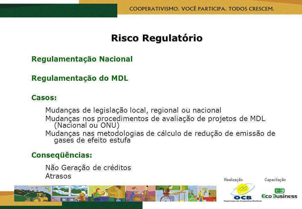 RealizaçãoCapacitação Risco Regulatório Regulamentação Nacional Regulamentação do MDL Casos: Mudanças de legislação local, regional ou nacional Mudanç