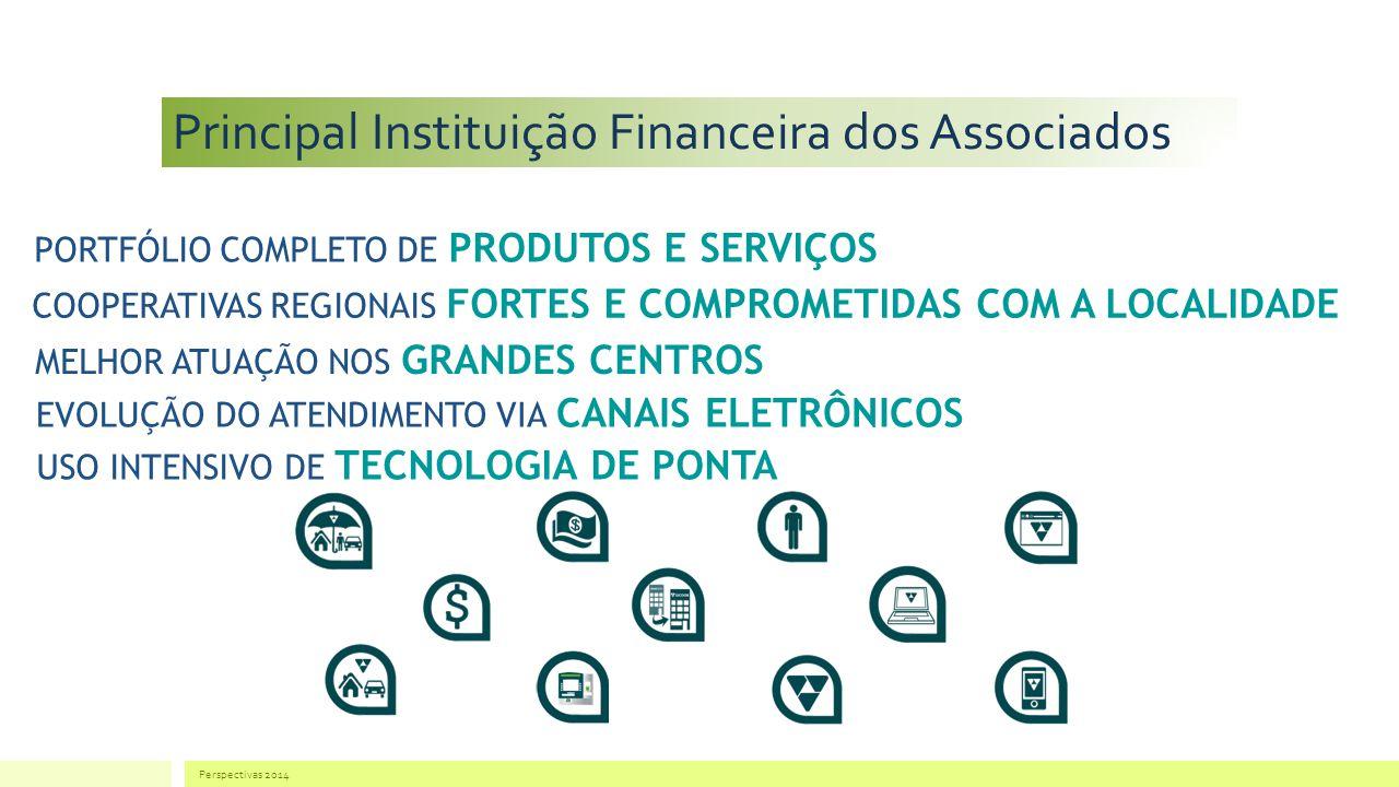 Principal Instituição Financeira dos Associados Perspectivas 2014 PORTFÓLIO COMPLETO DE PRODUTOS E SERVIÇOS COOPERATIVAS REGIONAIS FORTES E COMPROMETIDAS COM A LOCALIDADE MELHOR ATUAÇÃO NOS GRANDES CENTROS EVOLUÇÃO DO ATENDIMENTO VIA CANAIS ELETRÔNICOS USO INTENSIVO DE TECNOLOGIA DE PONTA