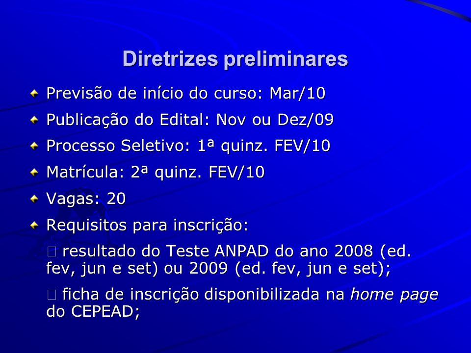 Diretrizes preliminares Previsão de início do curso: Mar/10 Publicação do Edital: Nov ou Dez/09 Processo Seletivo: 1ª quinz.
