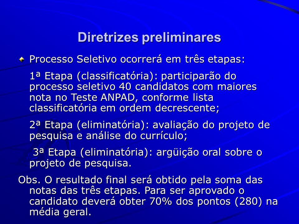Diretrizes preliminares Processo Seletivo ocorrerá em três etapas: 1ª Etapa (classificatória): participarão do processo seletivo 40 candidatos com mai