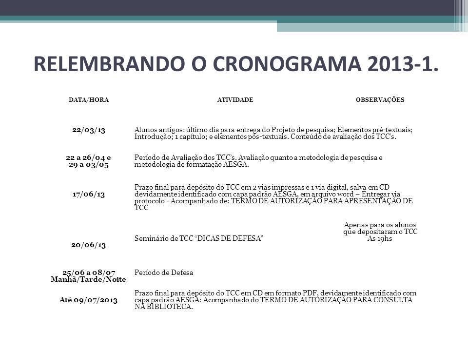 RELEMBRANDO O CRONOGRAMA 2013-1. DATA/HORA ATIVIDADE OBSERVAÇÕES 22/03/13 Alunos antigos: último dia para entrega do Projeto de pesquisa; Elementos pr