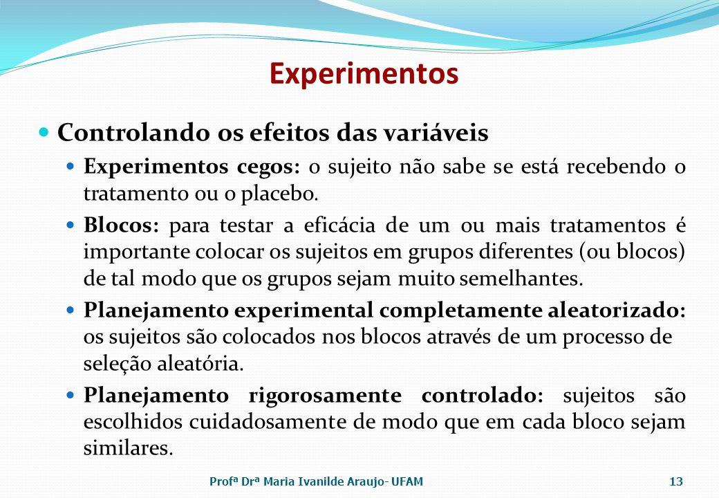 Experimentos Controlando os efeitos das variáveis Experimentos cegos: o sujeito não sabe se está recebendo o tratamento ou o placebo. Blocos: para tes