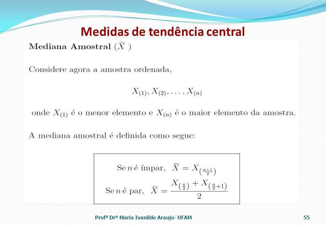 Medidas de tendência central Profª Drª Maria Ivanilde Araujo- UFAM55