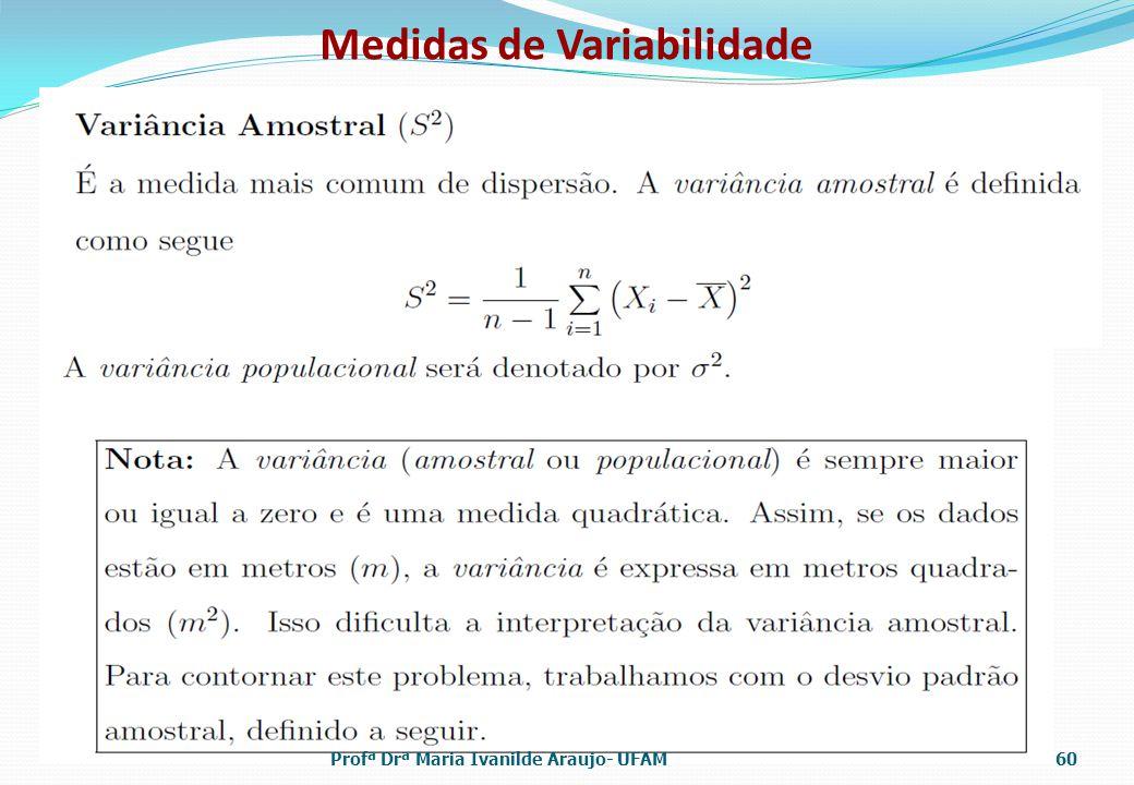 Medidas de Variabilidade Profª Drª Maria Ivanilde Araujo- UFAM60