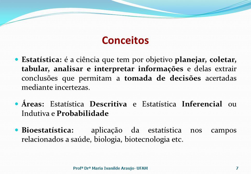 Conceitos Estatística: é a ciência que tem por objetivo planejar, coletar, tabular, analisar e interpretar informações e delas extrair conclusões que