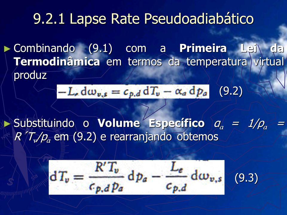 9.2.1 Lapse Rate Pseudoadiabático Combinando (9.1) com a Primeira Lei da Termodinâmica em termos da temperatura virtual produz Combinando (9.1) com a