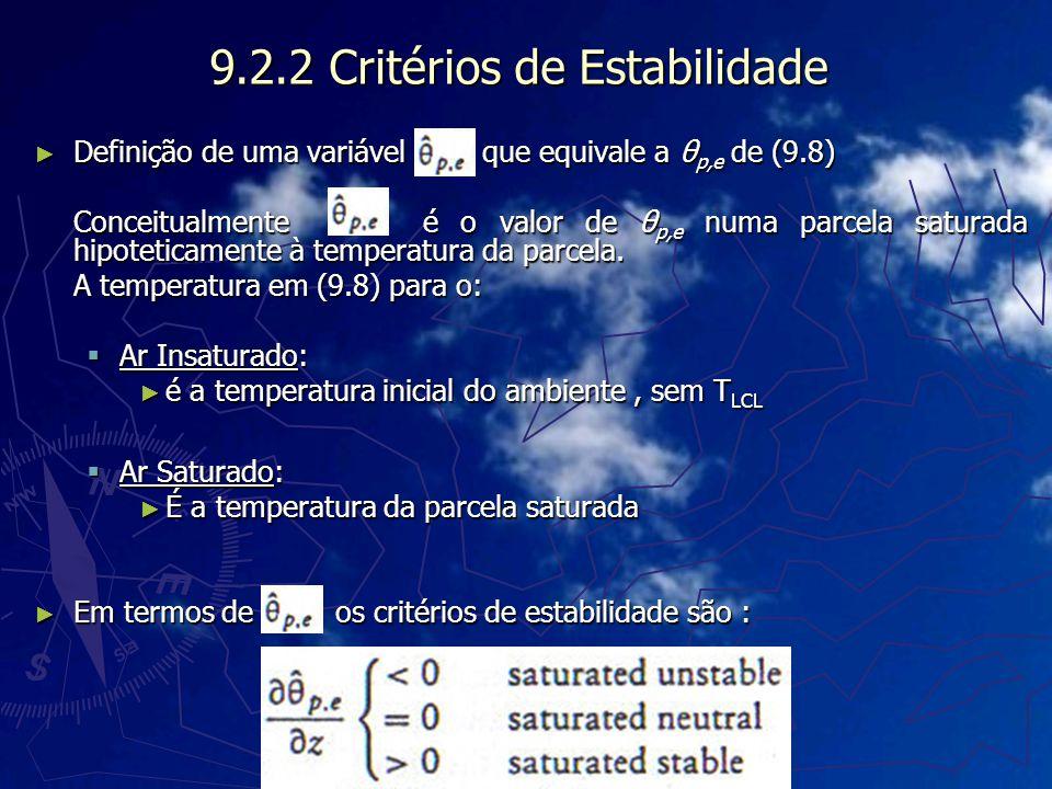 9.2.2 Critérios de Estabilidade Definição de uma variável que equivale a θ p,e de (9.8) Definição de uma variável que equivale a θ p,e de (9.8) Concei