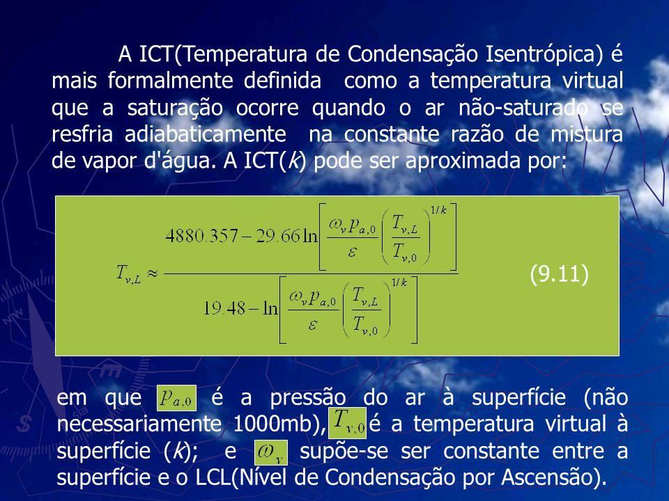 A ICT(Temperatura de Condensação Isentrópica) é mais formalmente definida como a temperatura virtual que a saturação ocorre quando o ar não-saturado s
